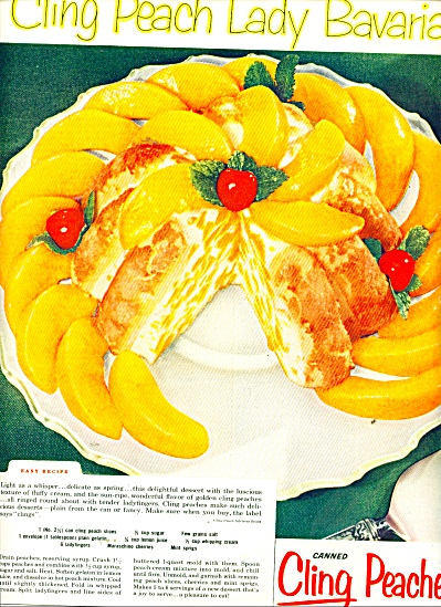 Canned cling peaches from California ad 1956 (Image1)