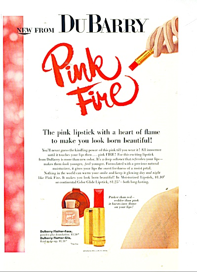 1956 DuBarry PINK FIRE LIPSTICK AD Beauty MOD (Image1)