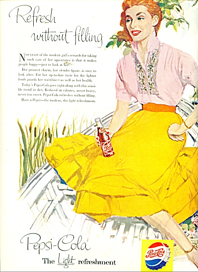 1956 Pepsi Cola AD LADY in BOAT Art (Image1)