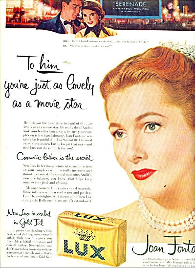 Lux toilet soap - JOAN FONTAINE - ad 1956 (Image1)