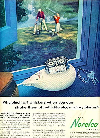 1957 Norelco Speedshaver Ad Stroke Them Off
