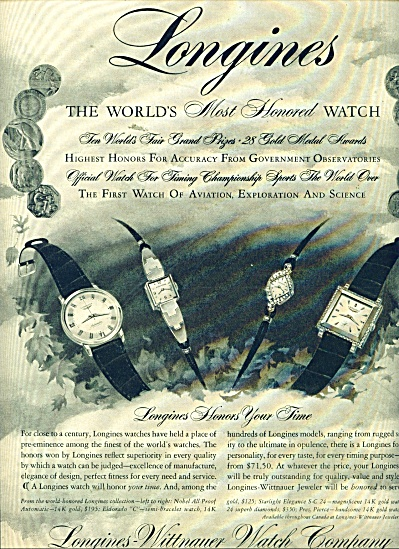 Longines-wittnauer Watch Company Ad 1957