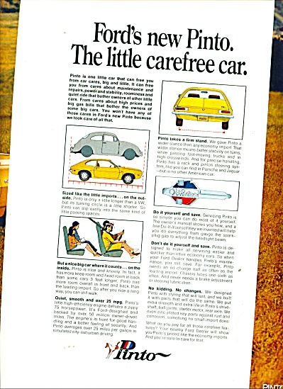 Ford Pinto automobile - ad  in 1970 PONY 25 MPG (Image1)
