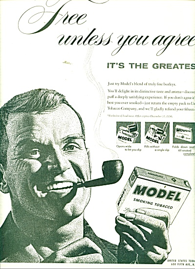 Model smoking tobacco ad 1956 (Image1)