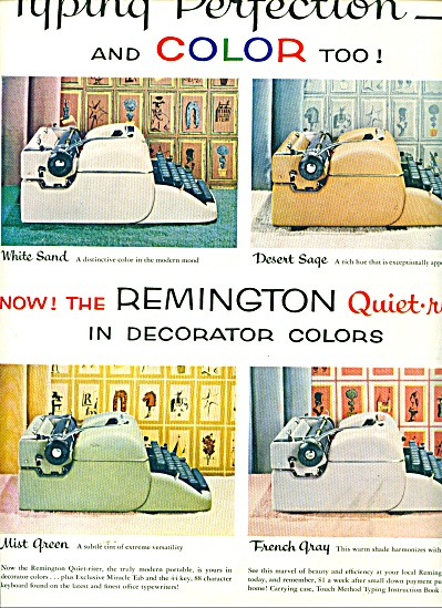 Remington quiet riter typewriters ad 1956 (Image1)