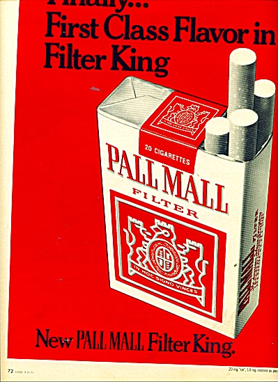 Pall Mall filter cigarettes ad 1971 (Image1)
