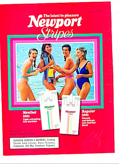 Newport stripes cigarettes ad 1989 (Image1)
