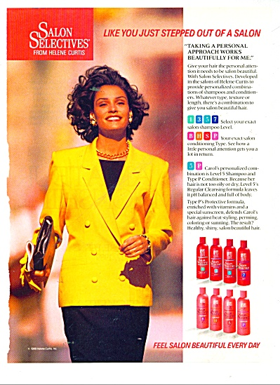 1989 Salon Selectives Ad Beautiful Model