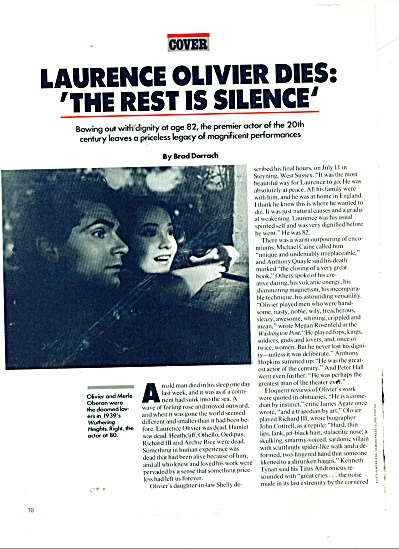 LAURENCE OLIVIER  dies article 1989 (Image1)