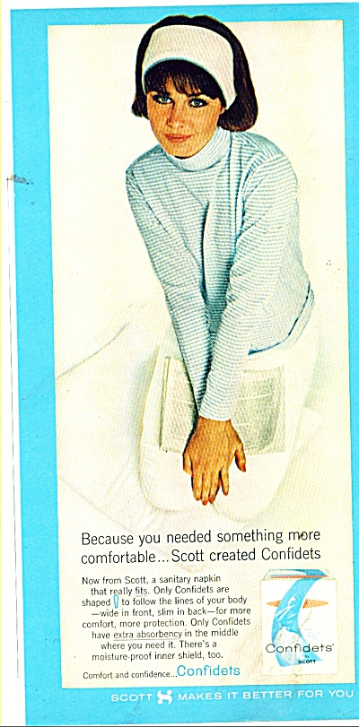 1964 Scott CONFIDETS Napkin AD CUTE Young Mod (Image1)