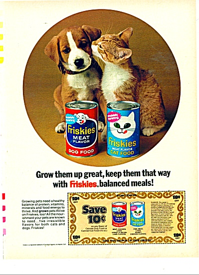 Friskies dog and Cat foods ad 1971 (Image1)