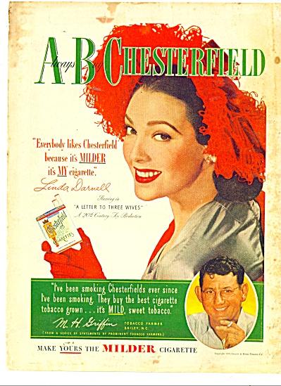 Chesterfield cigarettes - LINDA DARNELL  -ad (Image1)