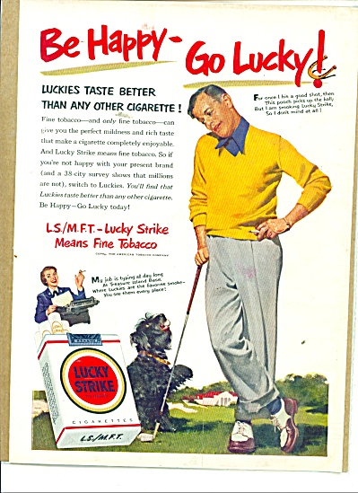 1951 Lucky Strike Dog And Man Playing Golf Ad (Image1)