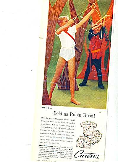 1950's Carters Boys Underwear Ad Archery