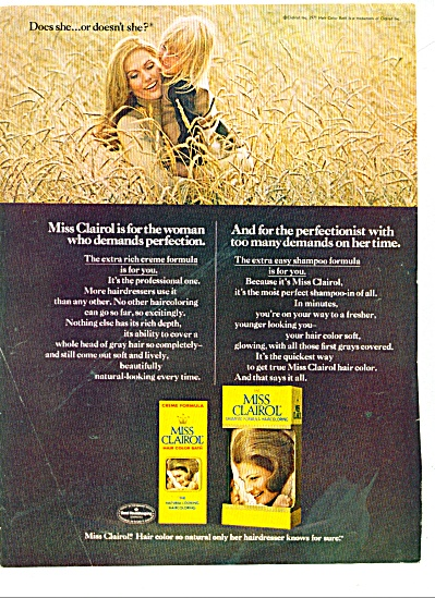 1971 Miss Clairol AD DOES SHE or DOESN'T SHE (Image1)