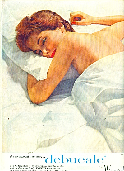 1956 Wamsutta Debucale LADY Nude in SHEETS AD (Image1)