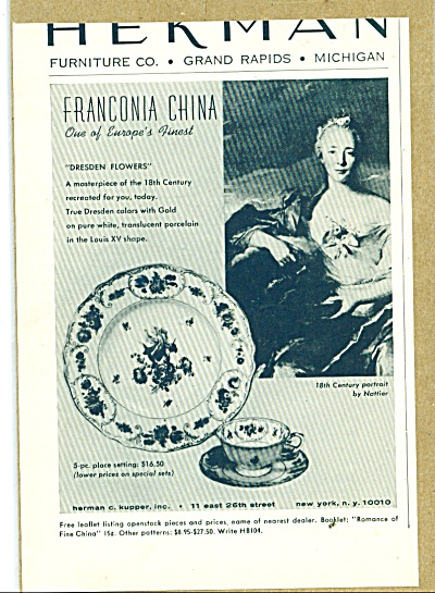 Herman furniture co. -Franconia china ad 1964 (Image1)