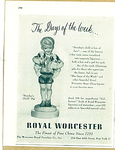 Royal Worcester ad - fine China - 1955 (Image1)