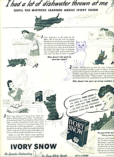 1943 Ivory Snow  Soap AD WOMAN - SCOTTY DOG (Image1)