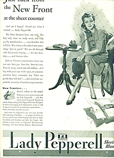1943 Pepperell Linen Ad Wartime Art Woman
