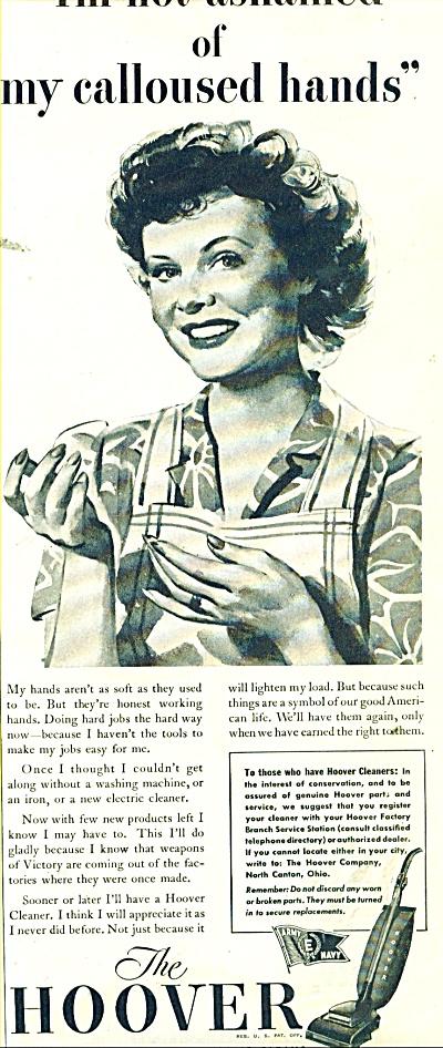 1944 HOOVER VACUUM Vintage LADY Artwork AD (Image1)