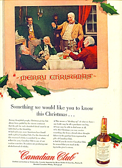 Canadian Club Whiskey Ad Old Time Christmas