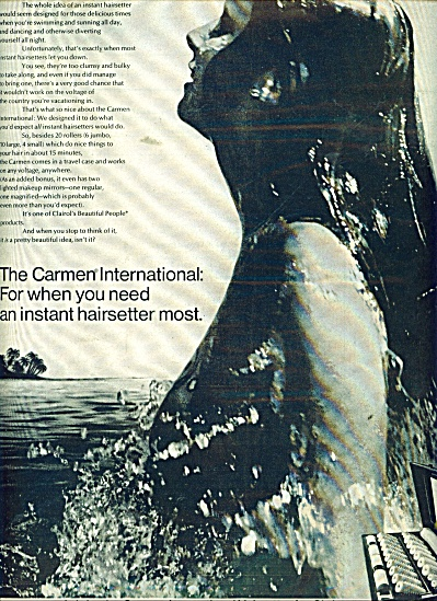 Carmen Interenational Hairsetter ad 1969 (Image1)