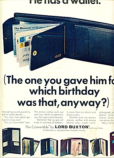 Lady Buxton wallets, purses ad 1969 (Image1)