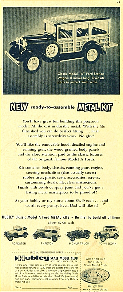 Hubley Scale Model club ad 1961 (Image1)