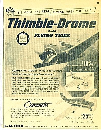 Thimble Drome P-40 flying tiger model ad 1960 (Image1)