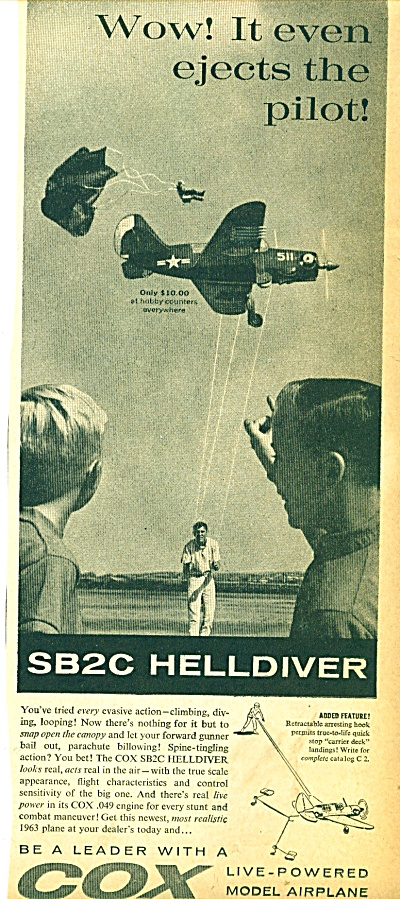 Cox live powered model airplane ad 1963 (Image1)