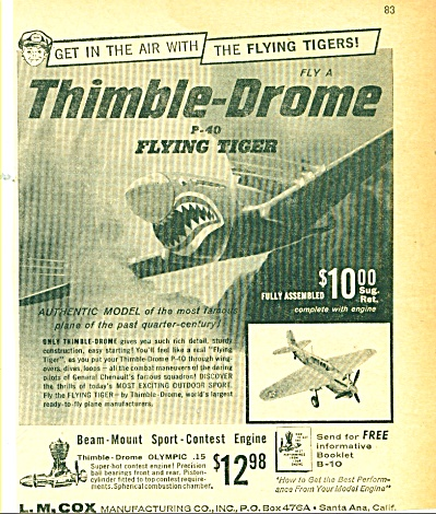Thimble-Drome P40 Flying Tiger ad 1959 (Image1)