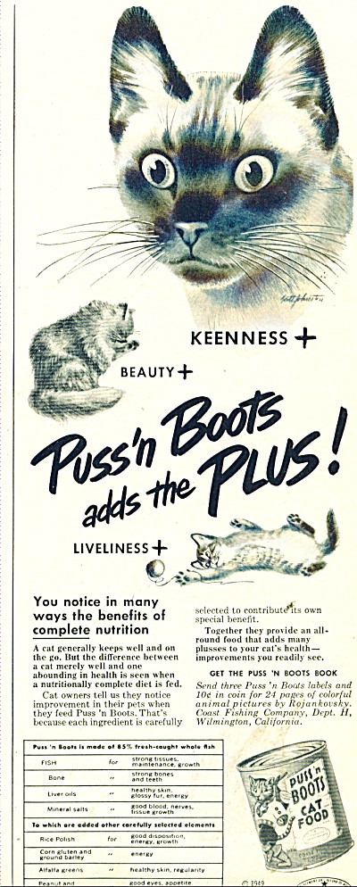 Puss'n boots cat food ad 1949 (Image1)