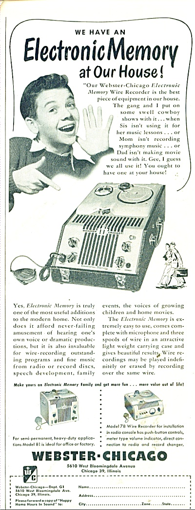 Webster=Chicago Electronic Memory ad 1948 (Image1)