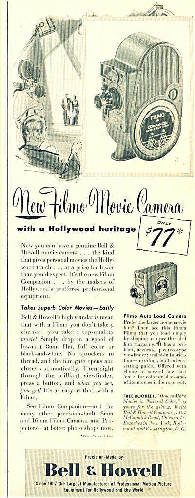 Bell & Howell Movie Camera ad 1948 (Image1)