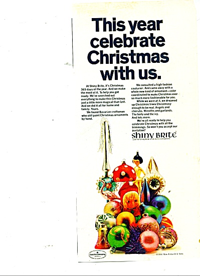 Shiny Brite Christmas ornaments ad 1966 (Image1)