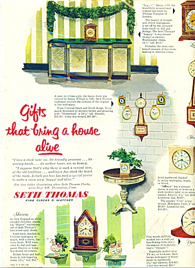 Seth Thomas Clocks & Watches Ad 1951
