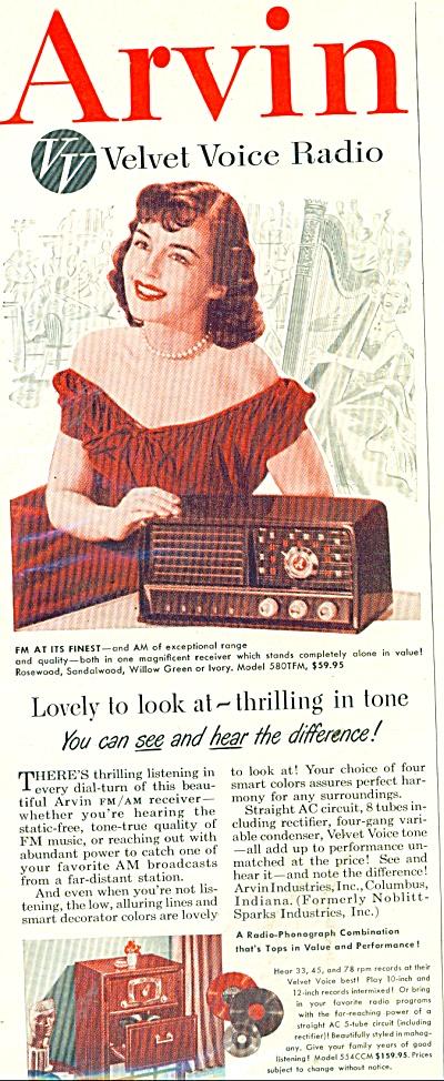Arvin velvet voice radio ad 1951 (Image1)