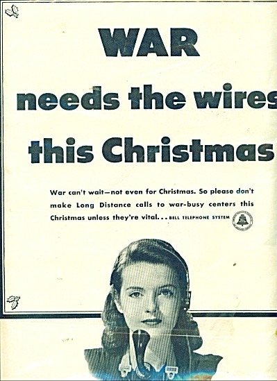 Bell Telephone System Ad 1941 War Cannot Wait