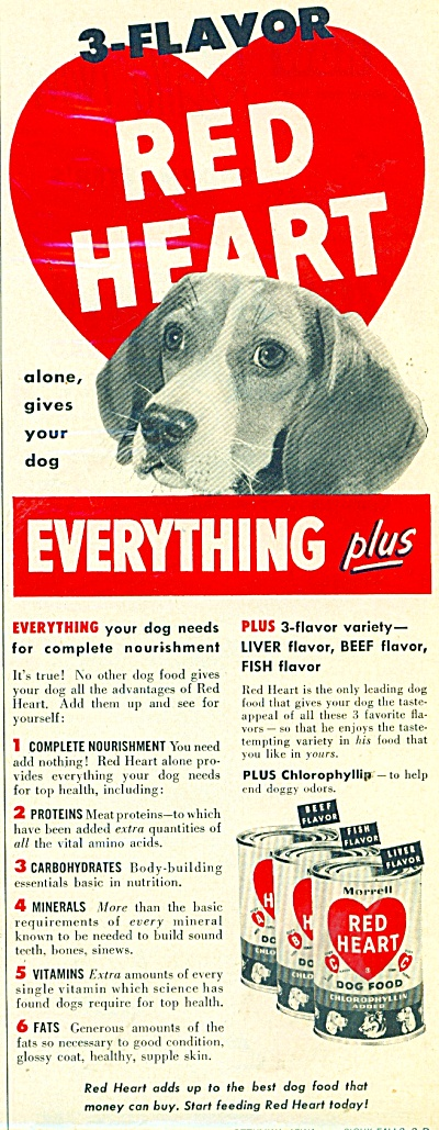 3 flavor Red heart dog food ad 1953 (Image1)