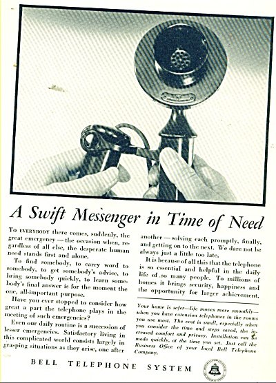 Bell Telephone System Ad 1934 Antique Phone