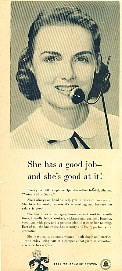 Bell Telephone System Ad 1951 Operator Good Job