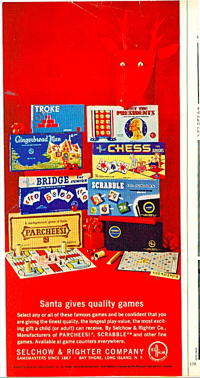Selchow & Righter Company Quality Games Ad
