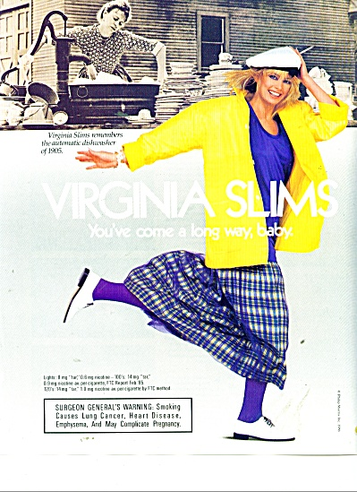 Virginia Slims cigarettes ad 1986 DISHES DISHES (Image1)