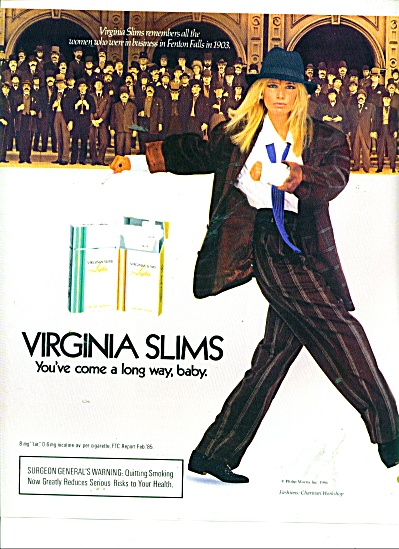 1986 VIRGINIA SLIMS KELLY EMBERG AD Cigarette (Image1)