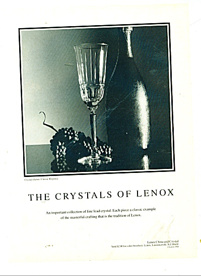 The Crystals of Lenox ad 1989 (Image1)