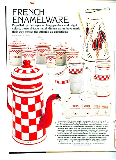 Vintage French Enamel Enamelware Ad Article