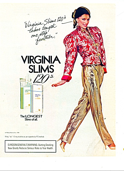 Virginia slims 120's cigarette ad 1986 (Image1)