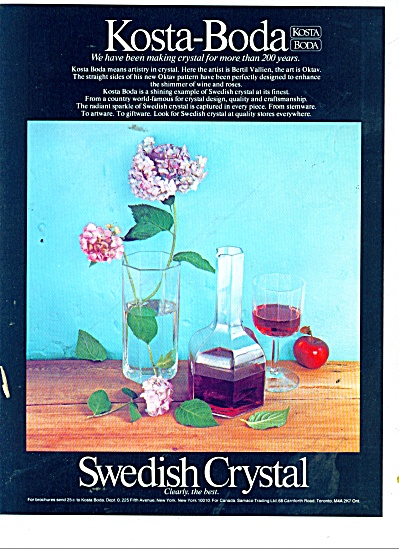 Swedish Crystal- Kosta-Boda ad 1978 (Image1)