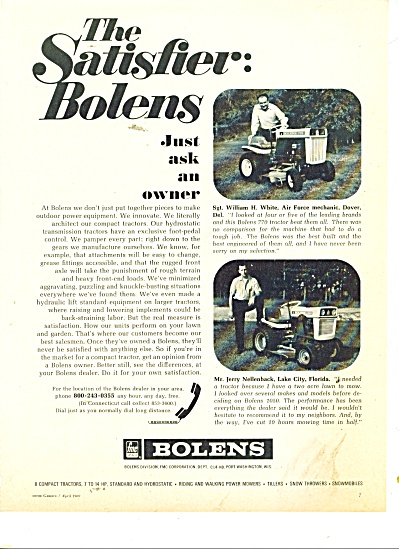 1969 Bolens TRACTOR AD ~ The Satisfier ~ (Image1)
